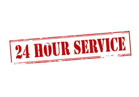twenty four hours: Rubber stamp with text twenty four hours service inside, vector illustration