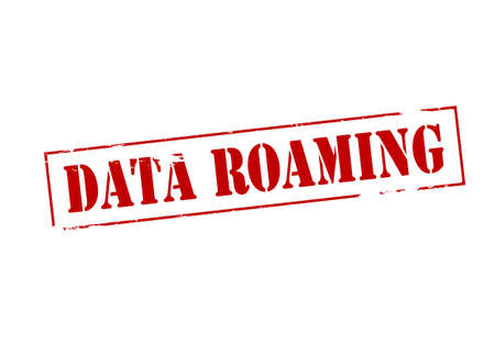 roaming: Rubber stamp with text data roaming inside, vector illustration Illustration