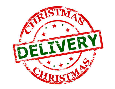 rendition: Rubber stamp with text Christmas delivery inside, vector illustration Illustration