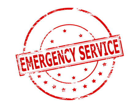 berth: Rubber stamp with text emergency service inside, vector illustration Illustration