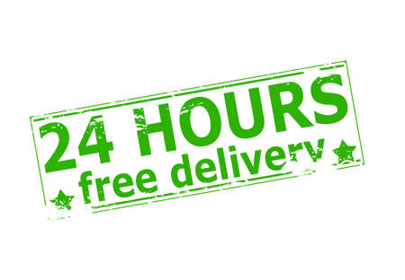 twenty four hours: Rubber stamp with text twenty four hours free delivery inside, vector illustration