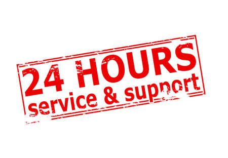 twenty four hours: Rubber stamp with text twenty four hours service and support inside, vector illustration