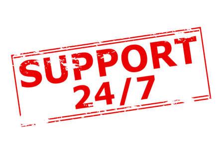 twenty: Rubber stamp with text suport twenty four seven inside, vector illustration
