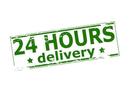 twenty four hours: Rubber stamp with text twenty four hours delivery inside, vector illustration