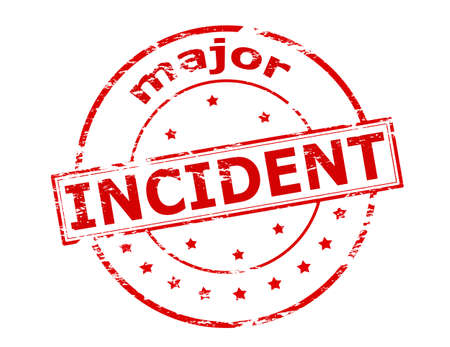incident: Rubber stamp with text major incident inside, vector illustration
