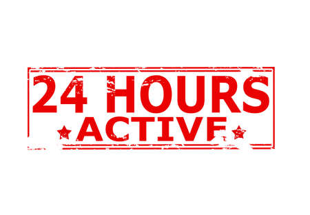 twenty four hours: Rubber stamp with text twenty four hours active inside, vector illustration