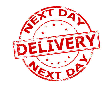 ensuing: Rubber stamp with text delivery next day inside, vector illustration Illustration