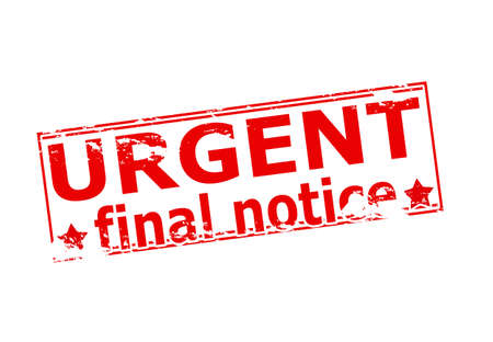 ending of service: Rubber stamp with text urgent final notice inside, vector illustration