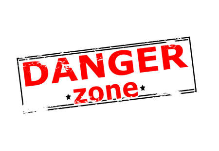 danger zone: Rubber stamp with text danger zone inside, vector illustration