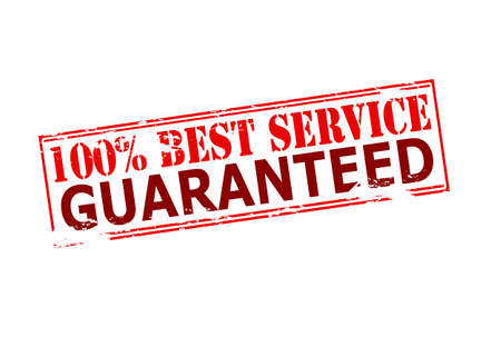 Rubber stamp with text one hundred percent best service guaranteed inside, vector illustration