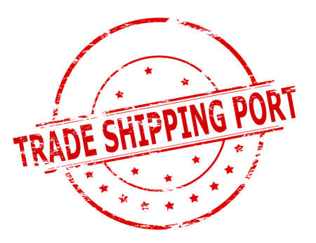 port: Rubber stamp with text trade shiping port inside, vector illustration Illustration