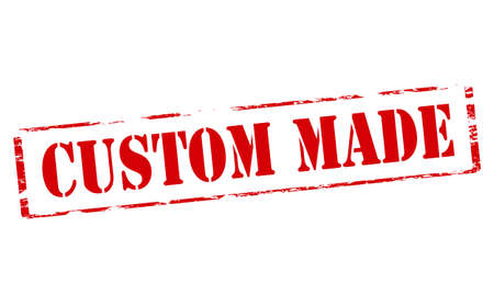 clientele: Rubber stamp with text custom made inside, vector illustration
