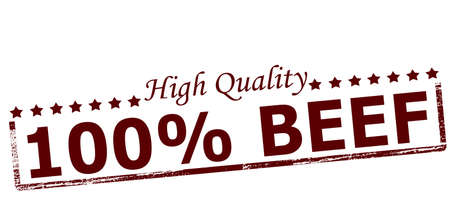 erect: Rubber stamp with text one hundred percent beef inside, vector illustration