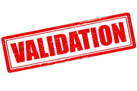 validation: Rubber stamp with word validation inside, vector illustration