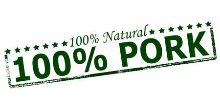 Rubber stamp with text one hundred percent natural pork inside, vector illustration