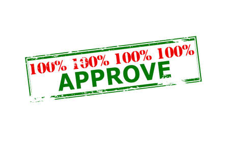 Rubber stamp with text one hundred percent approve inside, vector illustration