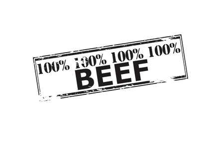 one hundred: Rubber stamp with text one hundred percent beef inside, vector illustration