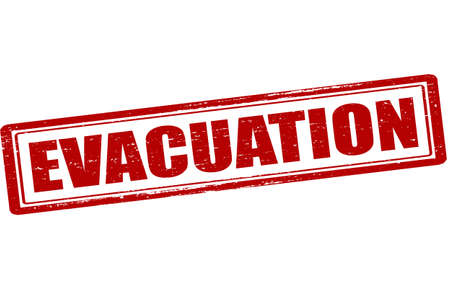 evacuation: Rubber stamp with word evacuation inside, vector illustration