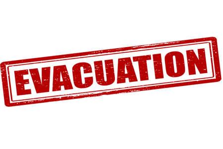 Rubberen stempel met woord evacuatie binnen, vector illustratie