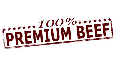 spoil: Rubber stamp with text one hundred percent premium beef inside, vector illustration