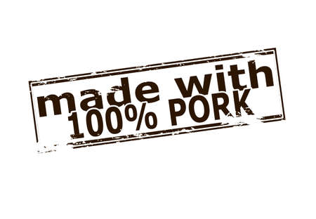 broun: Rubber stamp with text one hundred percent pork inside, vector illustration