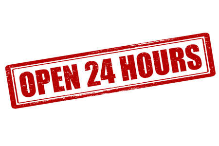 twenty four hours: Rubber stamp with text open twenty four hours inside, vector illustration