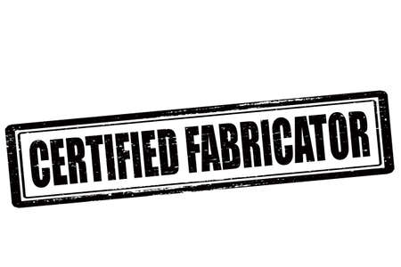 fabricator: Rubber stamp with text certified fabricator inside, vector illustration