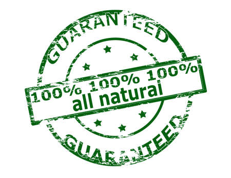 all in one: Rubber stamp with text one hunder percent all natural inside, vector illustration