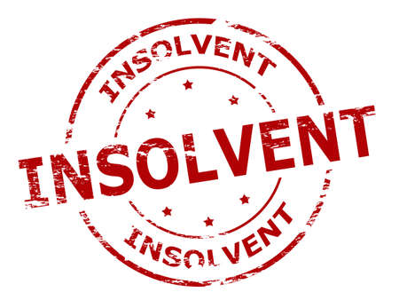 solvent: Rubber stamp with word insolvent inside, vector illustration