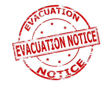 evacuation: Rubber stamp with text evacuation notice inside, vector illustration Illustration