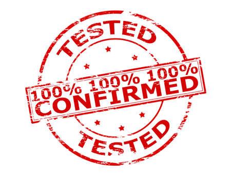 Rubber stamp with text one hunder percent tested confirmed inside, vector illustration Illustration