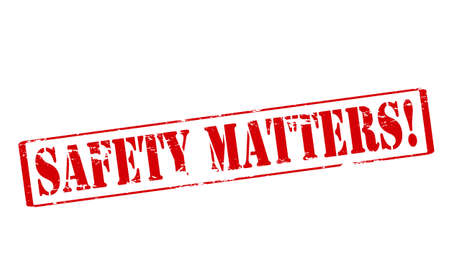 surety: Rubber stamp with text safety matters inside, vector illustration