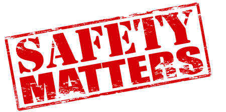 certainty: Rubber stamp with text safety matters inside, vector illustration