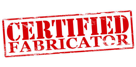 confirmed: Rubber stamp with text certified fabricator inside, vector illustration