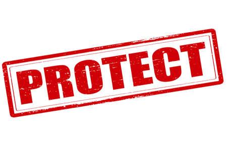 sconce: Sello de goma con la palabra de proteger el interior, ilustraci�n vectorial