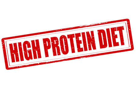 erect: Rubber stamp with text high protein diet inside, vector illustration Illustration