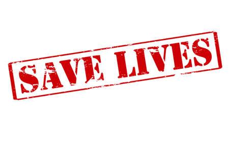 salve: Rubber stamp with text save lives inside, vector illustration Illustration