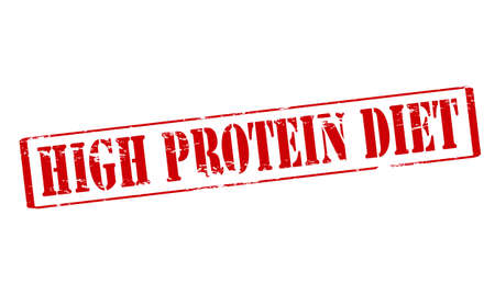 upright: Rubber stamp with text high protein diet inside, vector illustration Illustration