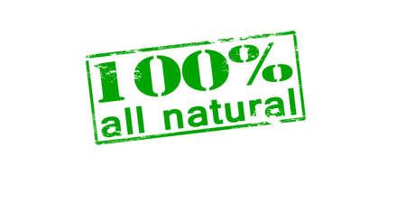 ne: Rubber stamp with text one hundred percent all natural inside, vector illustration Illustration