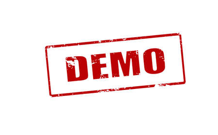 demo: Rubber stamp with word demo inside, vector illustration