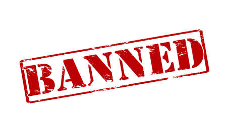 banned: Rubber stamp with word banned inside, vector illustration