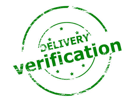 verification: Rubber stamp with text delivery verification inside, vector illustration Illustration