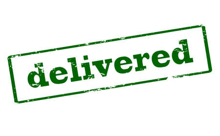 delivered: Rubber stamp with word delivered inside, vector illustration