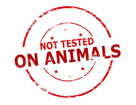 tested: Rubber stamp with text not tested on animals inside, vector illustration