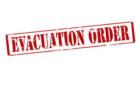 eviction: Rubber stamp with text evacuation order inside, vector illustration