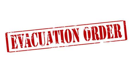 evacuacion: Sello de goma con la orden de evacuaci�n texto dentro, ilustraci�n vectorial
