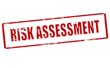 Rubber stamp with text risk assessment inside, vector illustration