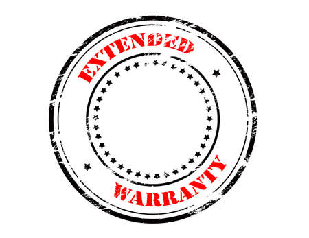 warranty: Rubber stamp with text extended warranty inside