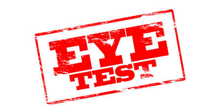 eye exam: Rubber stamp with text eye test inside