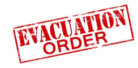 evacuacion: Sello de goma con la orden de evacuación texto dentro